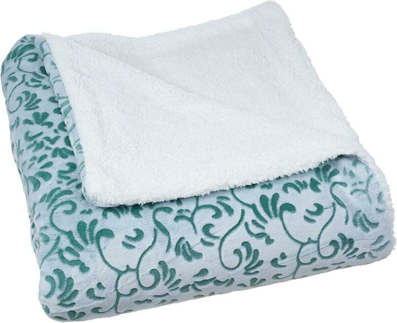 Bedford Home Botanical Etched Fleece Blanket With Sherpa, Fu