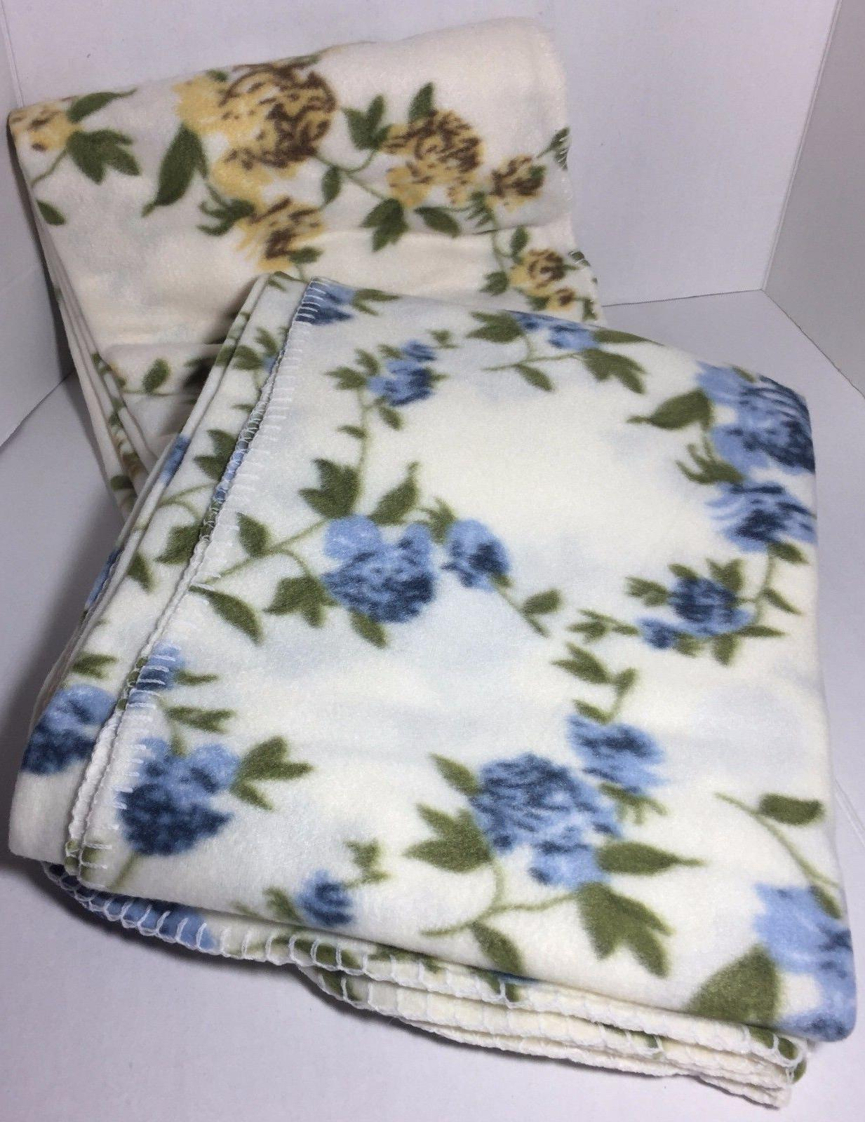 "BRAND NEW SET OF 2 FLEECE FLORAL THROWS BLANKETS 50"" X 60"""
