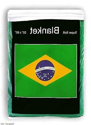Brazil Flag Fleece Blanket 5 ft x 4.2 ft. *NIB* Brazilian Th