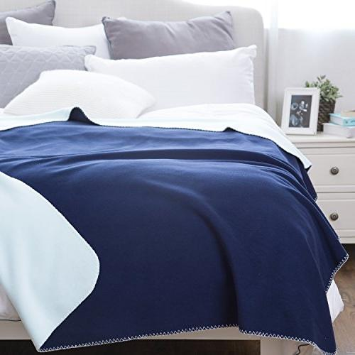 Navy/Light 60x80 Polar Fleece Blankets Soft Warm Bedding