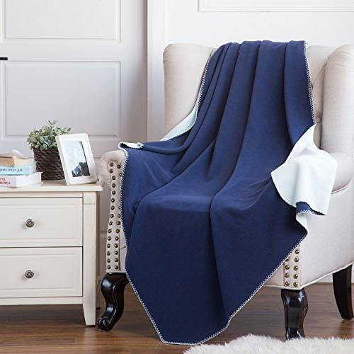 camping blanket reversible navy light