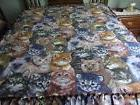 Cat faces handmade fleece blanket