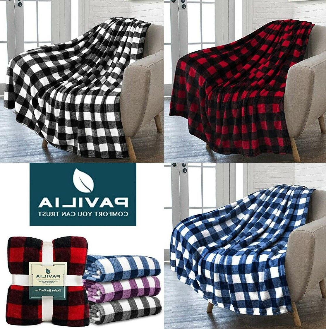 Christmas Microfiber Fleece Plaid Sherpa Throw Couch Bed