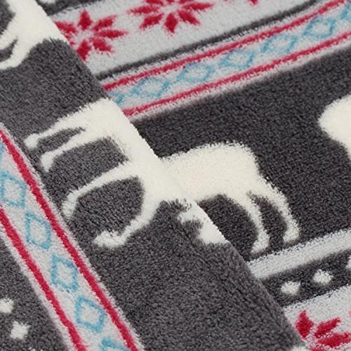 COSMOZ Christmas Pattern Grey Background Lightweight Coral Fleece 230GSM Blanket 60""