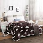 NTBAY Coffee Mink Fleece Blanket or Quilt with Cloud Pattern