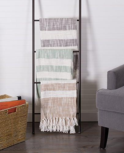 DII Rustic Farmhouse Cotton Stripe Blanket Fringe Chair, Picnic, Everyday x Mint