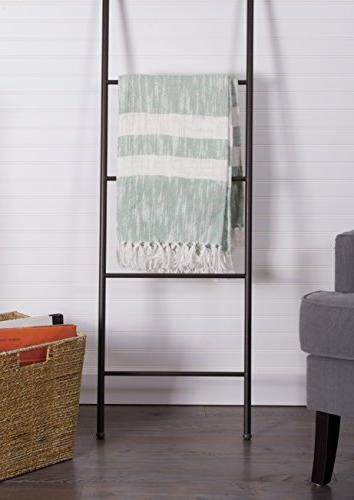 """DII Stripe Blanket Fringe Picnic, Camping, Beach, & Everyday x 60"""" - Distressed Mint"""