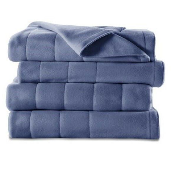 electric heated fleece channeled blanket twin check