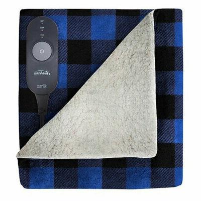 electric heated sherpa plush warming throw blanket