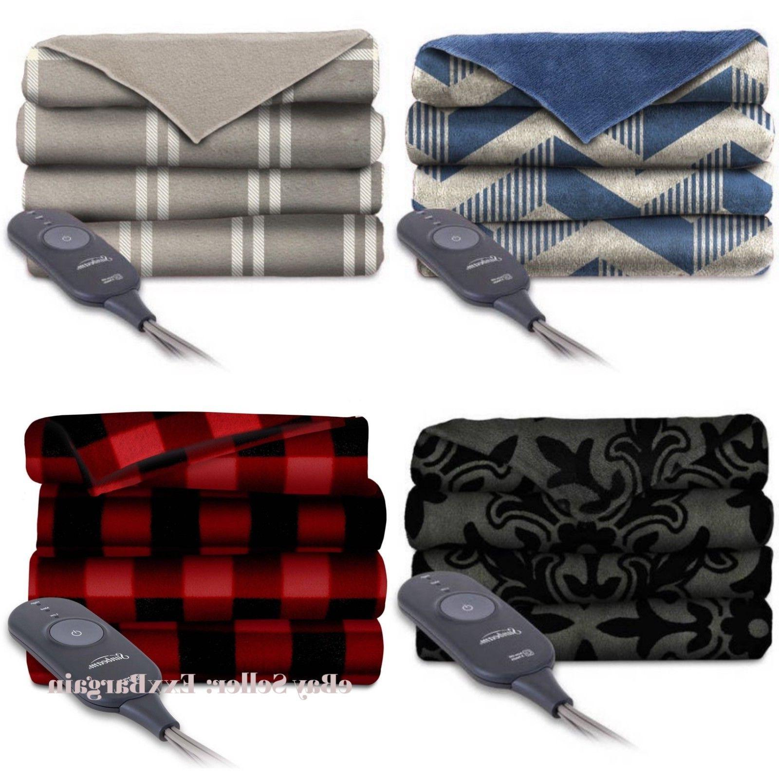electric throw blanket heated fleece warming blankets