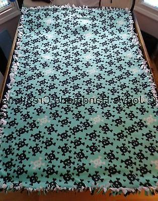 "EX- LONG /LARGE HANDMADE FLEECE TIED THROW / BLANKET 56"" X 8"