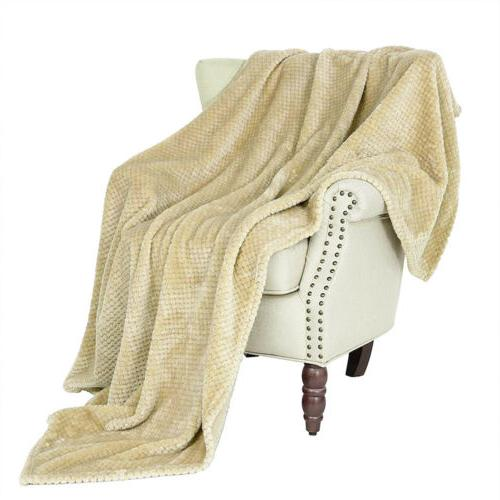 Soft Blanket Silky Flannel Fleece Lightweight Chair Sofa Decor
