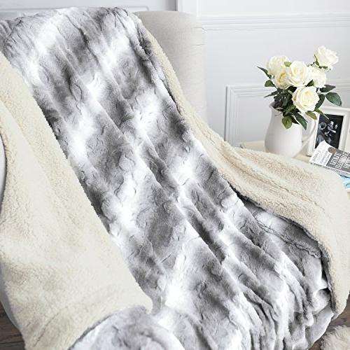 """Faux PV Bed Throws 60""""x80"""" Solid Light Super Reversible with Sherpa, Fuzzy Fur Bed Blankets"""