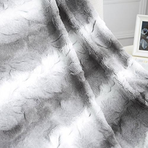 """Faux PV 60""""x80"""" Light Super Soft Reversible Fuzzy Fur Brushed Blankets"""