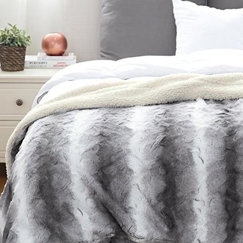 """Faux Throw PV Fleece 60""""x80"""" Solid Super & Warm, Reversible Sherpa, Fuzzy Fur Brushed Blankets"""