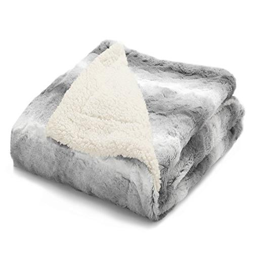"""Faux PV 60""""x80"""" Solid Grey, Super Warm, Reversible with Shaggy Fuzzy Fur Brushed Blankets"""