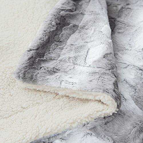 """Faux Fur PV Fleece Bed 60""""x80"""" Solid Super Warm, Reversible with Sherpa, Shaggy Fuzzy Brushed Bed Blankets"""