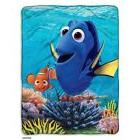 Disney Finding Dory & Nemo Blue Fleece Throw Silky Touch Plu