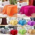 Flannel Blanket Full Queen King Size Solid Color Plush Throw