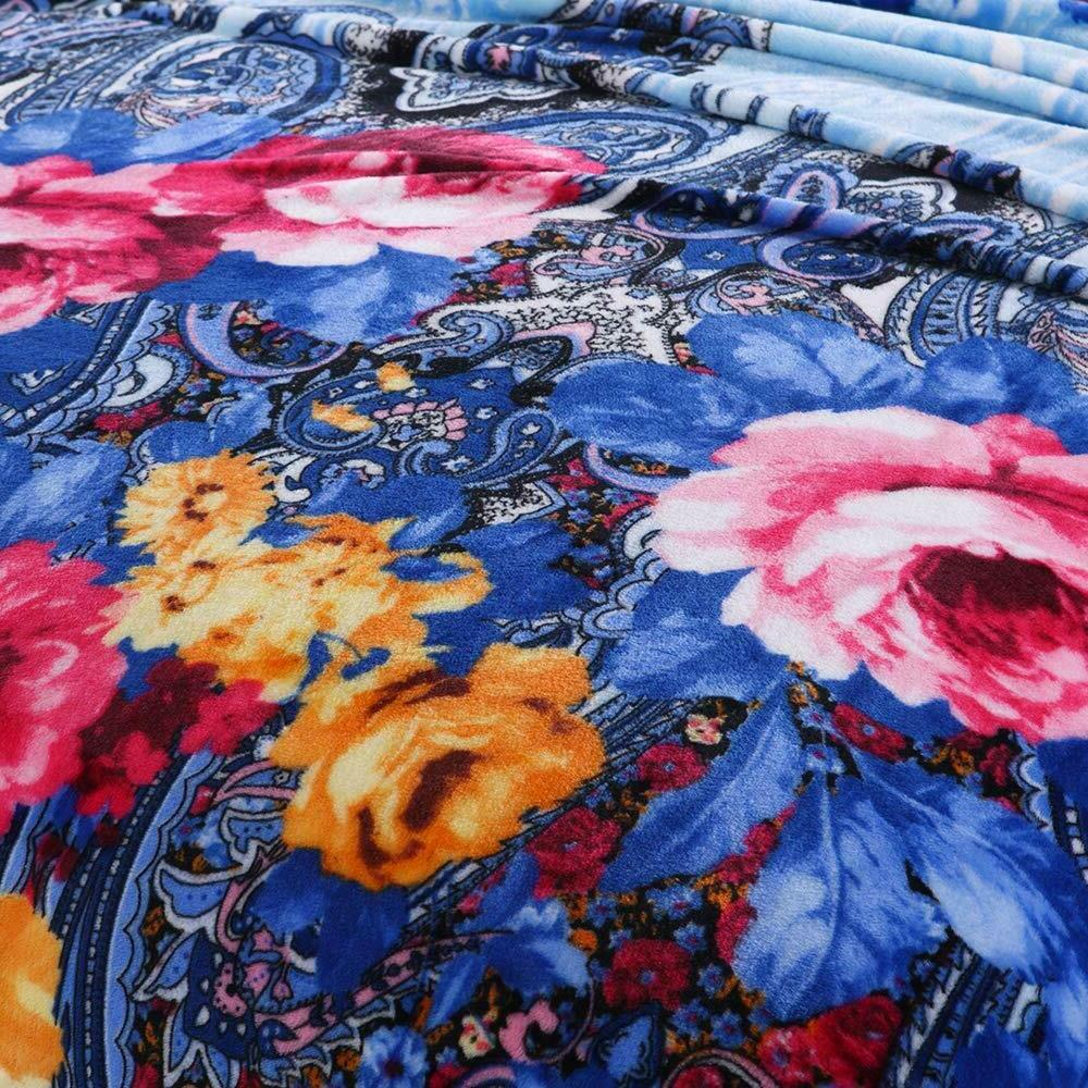 Flannel Fleece Season Blanket for Bed/Couch/Car Blue Floral Printed