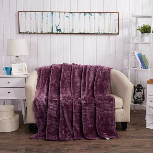 Flannel Full Queen King Plush Microfiber Solid Blanket
