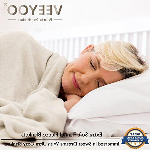 VEEYOO King Extra Soft Plush Microfiber Blanket, All Super Cozy Blanket, Ivory