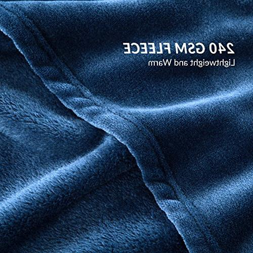 Bedsure Fleece Luxury Blanket Navy Size Lightweight Microfiber Solid