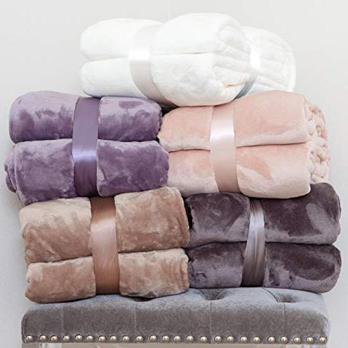 Kingole Flannel 350GSM Purple Size Lightweight Cozy Couch/Bed Super Soft Warm Plush Solid Throw Blanket