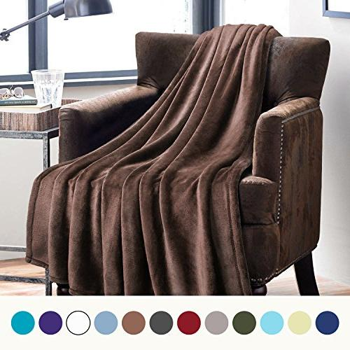 flannel fleece luxury blanket brown