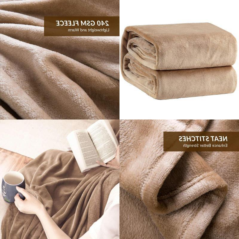 Bedsure Flannel Fleece Luxury Blanket Camel Lightweight Cozy