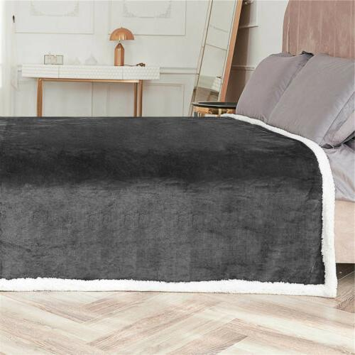 Flannel Sherpa Twin Queen Throw Soft Sofa Bed Rug