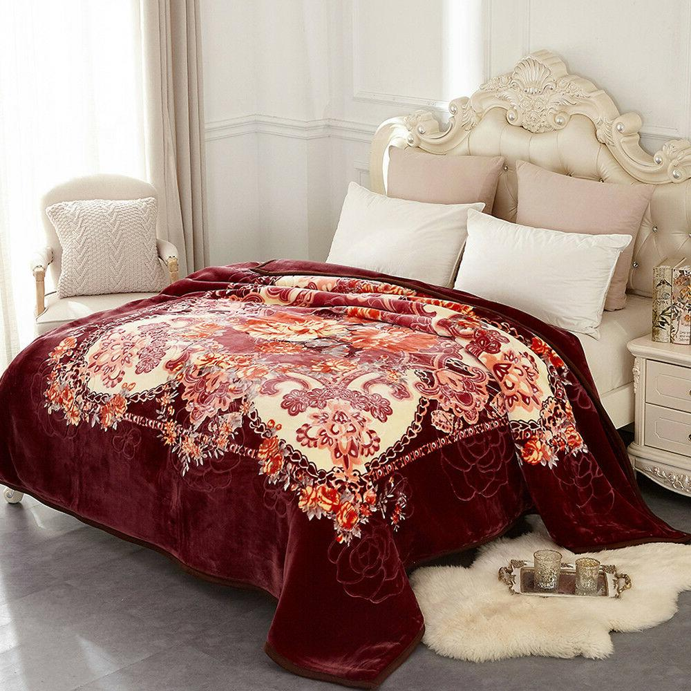 Heavy Mink Blanket Fleece Soft Thick Ply Printed King/Queen