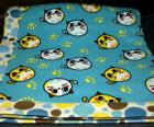 "HANDMADE FLEECE BLANKET NOVELTY CATS DESIGN SIZE 53"" x 65"" N"