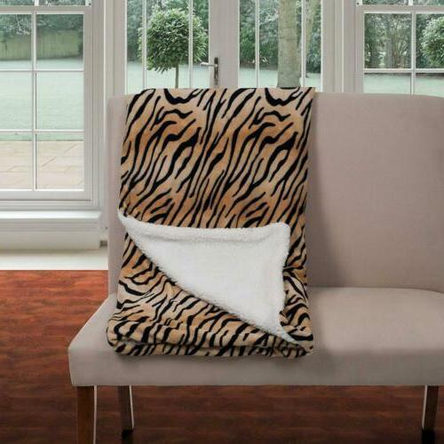 Lavish Home Fleece Blanket with Backing, Tiger