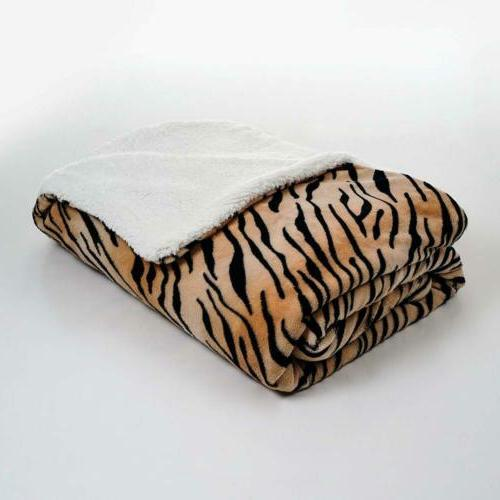 fleece blanket with sherpa backing twin tiger