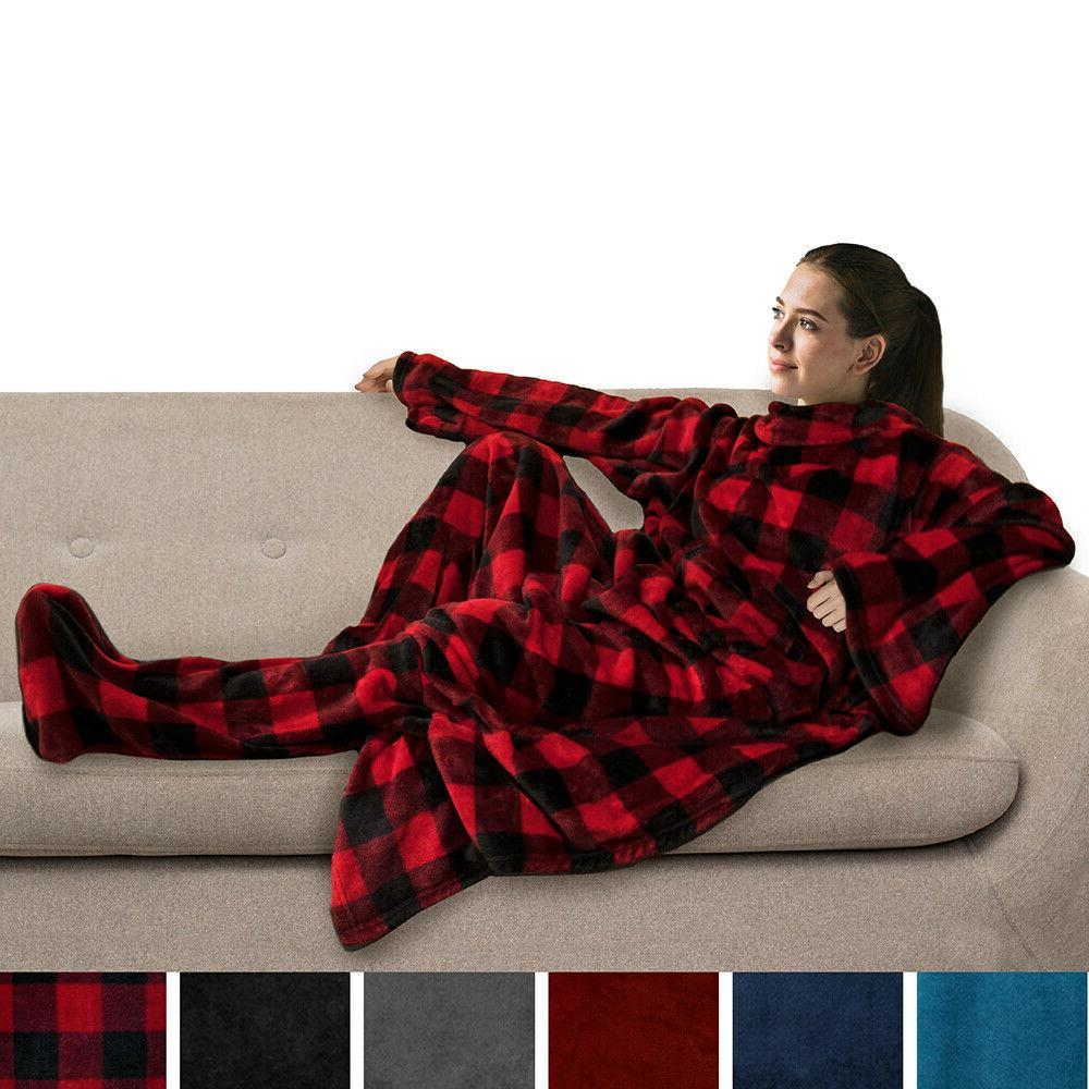 Fleece with and Pockets Snuggie for Bed Snuggy