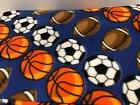 "Fleece Fabric Sports Blue 60"" Wide Anti Pill Printed DIY Bla"