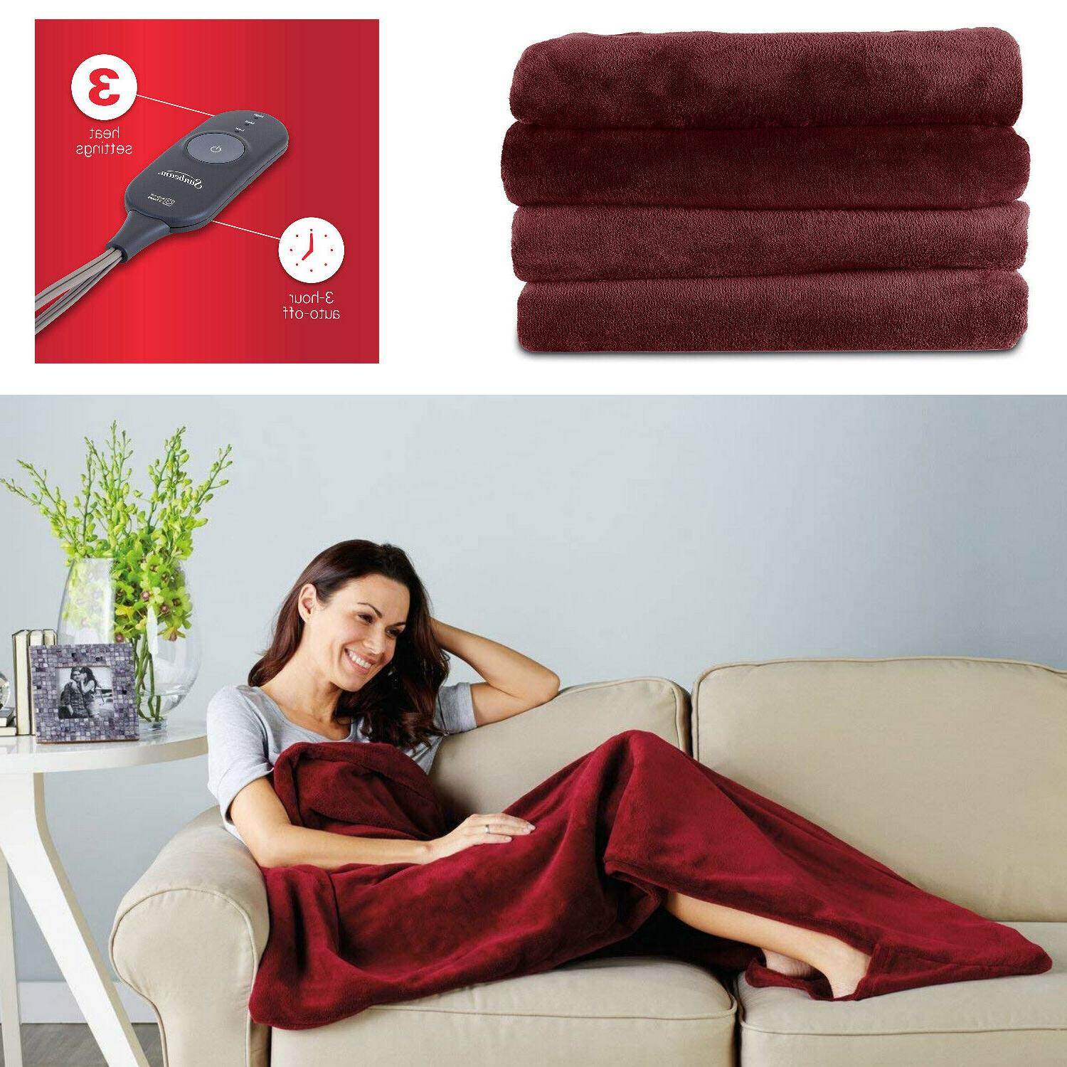 fleece heated electric throw blanket with controller