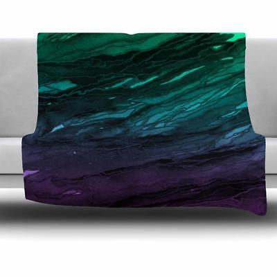 Fleece Reversible Throw Blanket Machine Washable Green/Plum/
