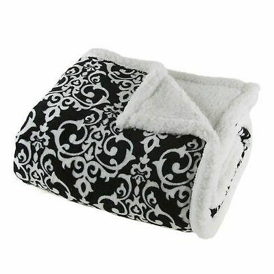 Lavish Home Fleece Sherpa White and Black Damask Throw Blank