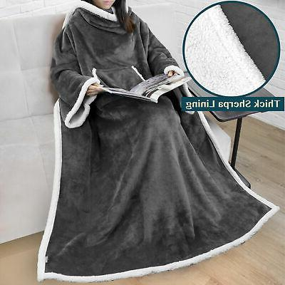 fleece snuggie blanket with sleeves and front