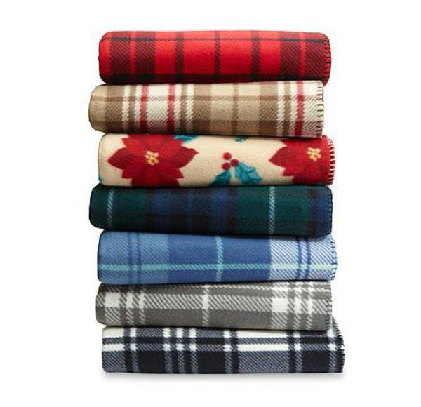 Essential Home Fleece Throw Blanket Warm Plaid Cozy Decor Gi