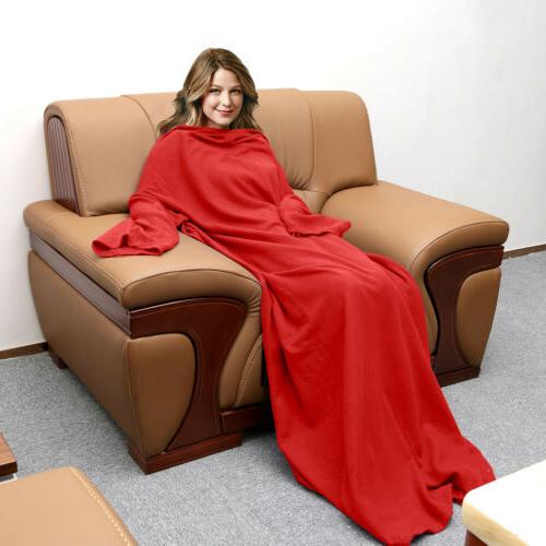 Fleece Wearable Sleeves Cozy Micro Sofa Blanket Women Men