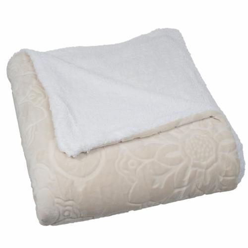 floral etched fleece blanket with sherpa full