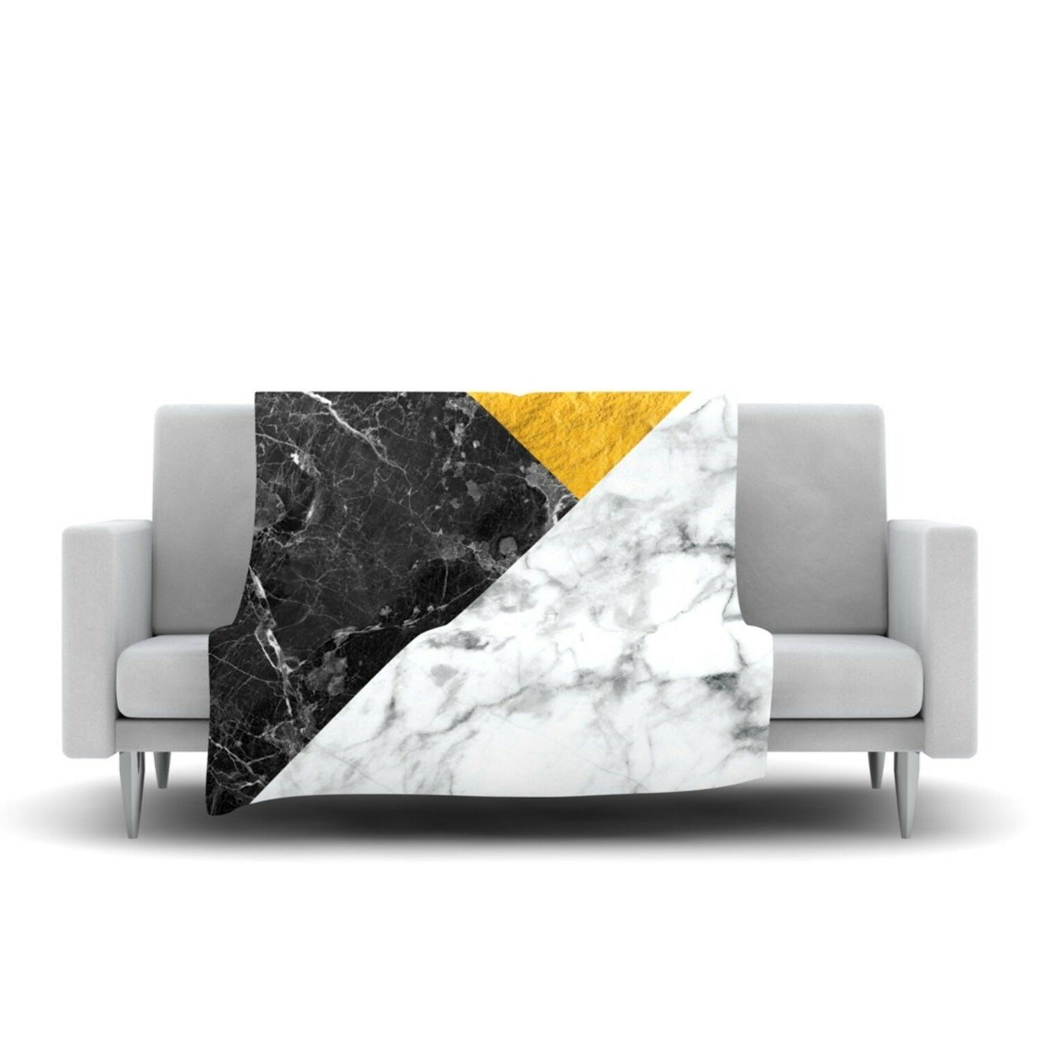 geo marble gold fleece blanket