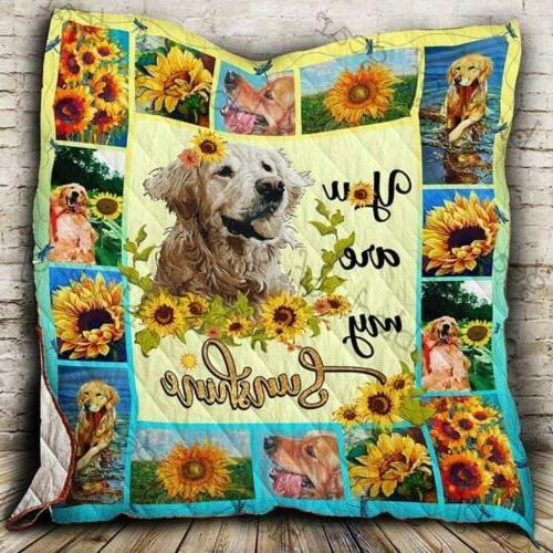 Golden Retriever Sunflower You're My Sunshine Fleece Blanket