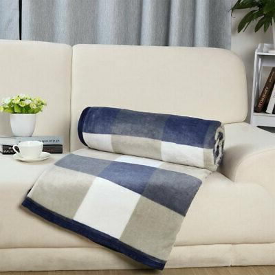 Home Plush Plaid Pattern Blanket Twin/Full/Queen