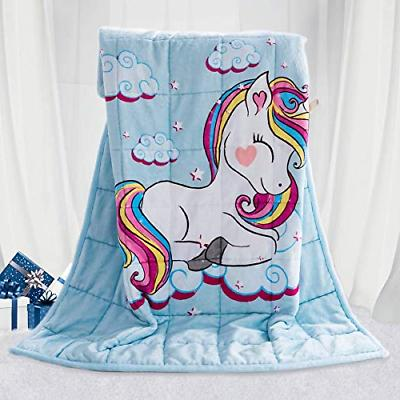 kids fleece weighted 5 lbs unicorn blanket