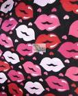 KISS MY LIPS BY DAVID TEXTILES FLEECE PRINTED FABRIC  BY THE