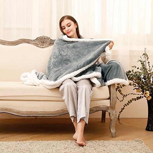 LANGRIA Sherpa Fleece Reversible Extra Fabric All Blanket for Couch Care